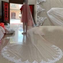 Свадебные вуали белого цвета/цвета слоновой кости длиной 3 м, однослойная Фата для собора с гребнем, аксессуары для свадебного платья, реальные фотографии