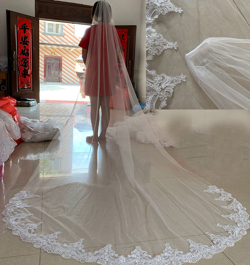 White/Ivory Wedding Veils 3M Long Lace Edge One Layer Cathedral Bridal Veils With Comb Wedding Dress Accessories Real Photos
