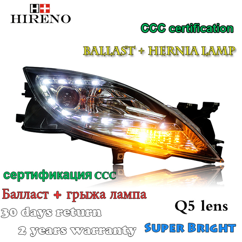 Hireno Car styling Headlamp for Mazda6 2009-14 Headlight Assembly LED DRL Angel Lens Double Beam HID Xenon 2pcs hireno car styling headlamp for 2003 2007 honda accord headlight assembly led drl angel lens double beam hid xenon 2pcs