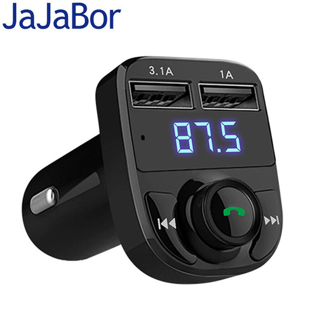 JaJaBor Bluetooth Car Kit FM Transmitter Handfree Car MP3 Audio Player Voltage Detection Noise Cancellation Dual USB Car Charger