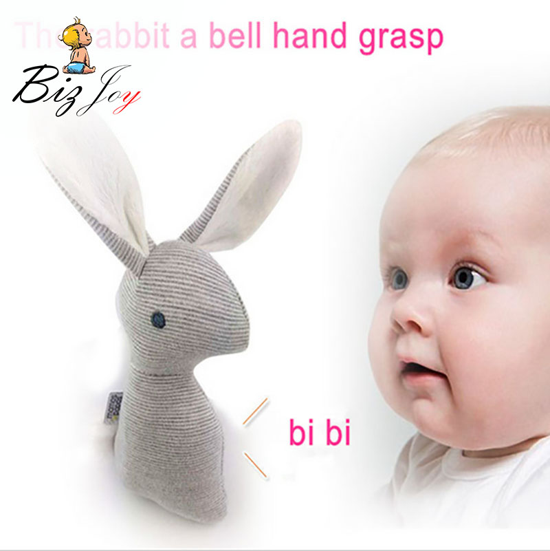 HOT 21cm Rabbit Baby Toys Plush 0-12 Months BB Bunny Rattle Squishy Infant Ring Bell Crib Sound Cute Animal Bebe Toy Kids Doll