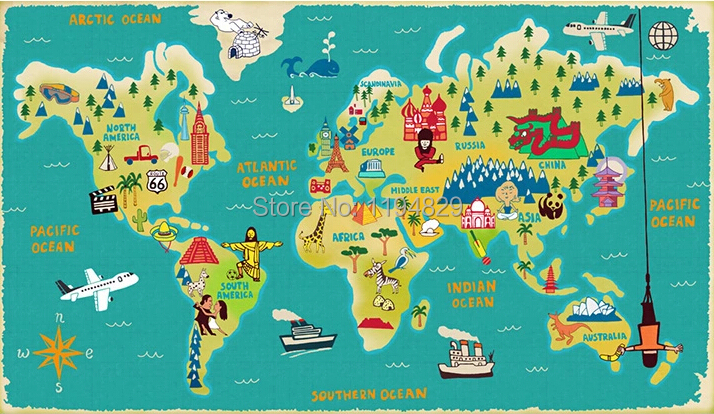 Cartoon children style world map large mural wallpaper tv sofa cartoon children style world map large mural wallpaper tv sofa background photo wallpapers used for living room kids room in wallpapers from home gumiabroncs Image collections