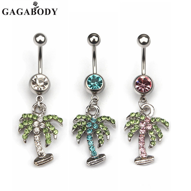 Us 4 04 10 Off 1pc Rhinestone Coconut Tree Belly Button Ring 316l Surgical Steel Navel Dangle Belly Ring Bar Body Piercing On Aliexpress Com