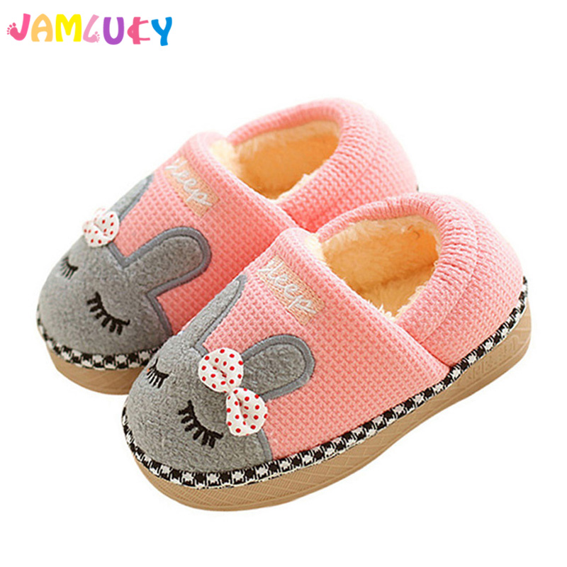 Children Slippers Winter Cute Rabbit Ears Slippers Boys Girls Home Shoes Warm Plush Kids Shoes Winter Soft Indoor Shoes Girls