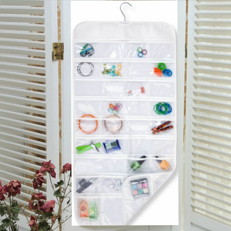 72 Pockets Double Sided Jewelry Display Organizer Holder Home Wall