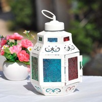 Moroccan Style Vintage Colorful Metal Glass Candle Holder Candlestick Hanging Lantern Candle Wedding Household Decor Craft