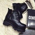 Nueva Moda de La Nieve Zapatos Botas de Lluvia de Las Mujeres Pisos Plataforma Martin Cuero Partido de la Vaca de Goma de Invierno de Piel de Felpa Caliente Superestrella WZJB-1189