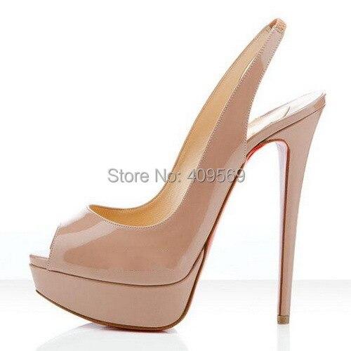 2923bfab978 Classic Daffodil Red Bottom Shoes Nude Patent Leather Slingbacks Platform  High Heels Peep-toe High-heeled Women Pumps