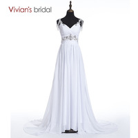 Beach Wedding Dress A Line Vivian S Bridal Sweetheart Spaghetti Straps Sequin Beads Chiffon Wedding Gown
