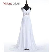 Beach Wedding Dress A Line Vivian S Bridal Sweetheart Spaghetti Straps Sequin Beads Chiffon Wedding Gown
