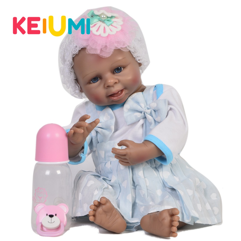 KEUIMI 19 Inch Collectible Reborn Baby Doll Full Body Silicone 45 cm Realistic Black Skin Baby Doll For Girl Kid Christmas Gifts цена