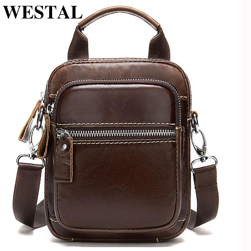 WESTAL Men's Shoulder Bags Men's Genuine Leather Messenger/Crossbody Bags for Men Male Bag Small Sling Bags Belt Handbags 339