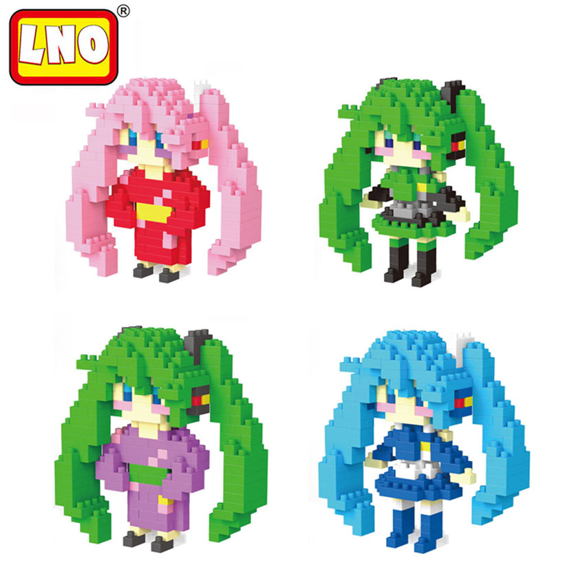 LNO Anime Hatsune Miku Toys Nano Building Blocks Mini Cute Cartoon 3D Model Series Micro Diamond Brick Christmas Gifts For Kids loz mini diamond block world famous architecture financial center swfc shangha china city nanoblock model brick educational toys