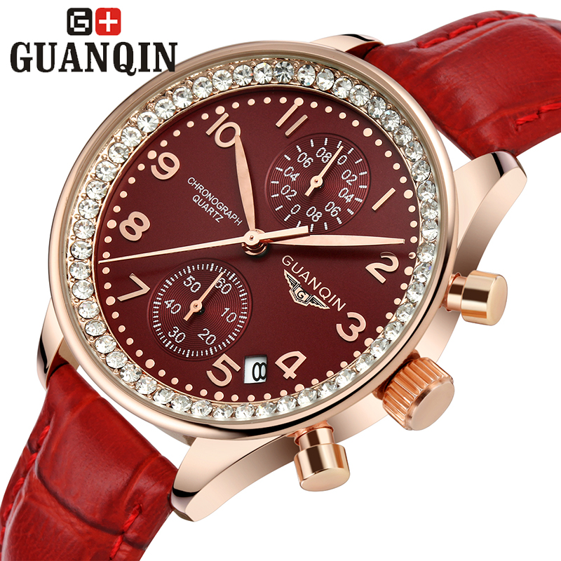 ФОТО Brand GUANQIN women's watches quartz watch women quartz-watch crystal vintage relogio feminino sapphire two Two dials leather