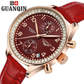 Marca GUANQIN relógios das mulheres relógio de quartzo das mulheres relógio de quartzo-cristal de safira dois Dois mostradores couro relogio do vintage feminino