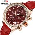 Marca GUANQIN relojes de cuarzo mujeres del reloj de cuarzo de las mujeres de cuero relogio feminino zafiro dos Dos diales del reloj vintage de cristal