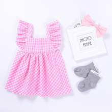 1-4 Yrs Kids Grls Summer Clothes Plaid Pink Sleeveless Outwear Dresses Cute Baby Girls Dress Clothing Free Shipping