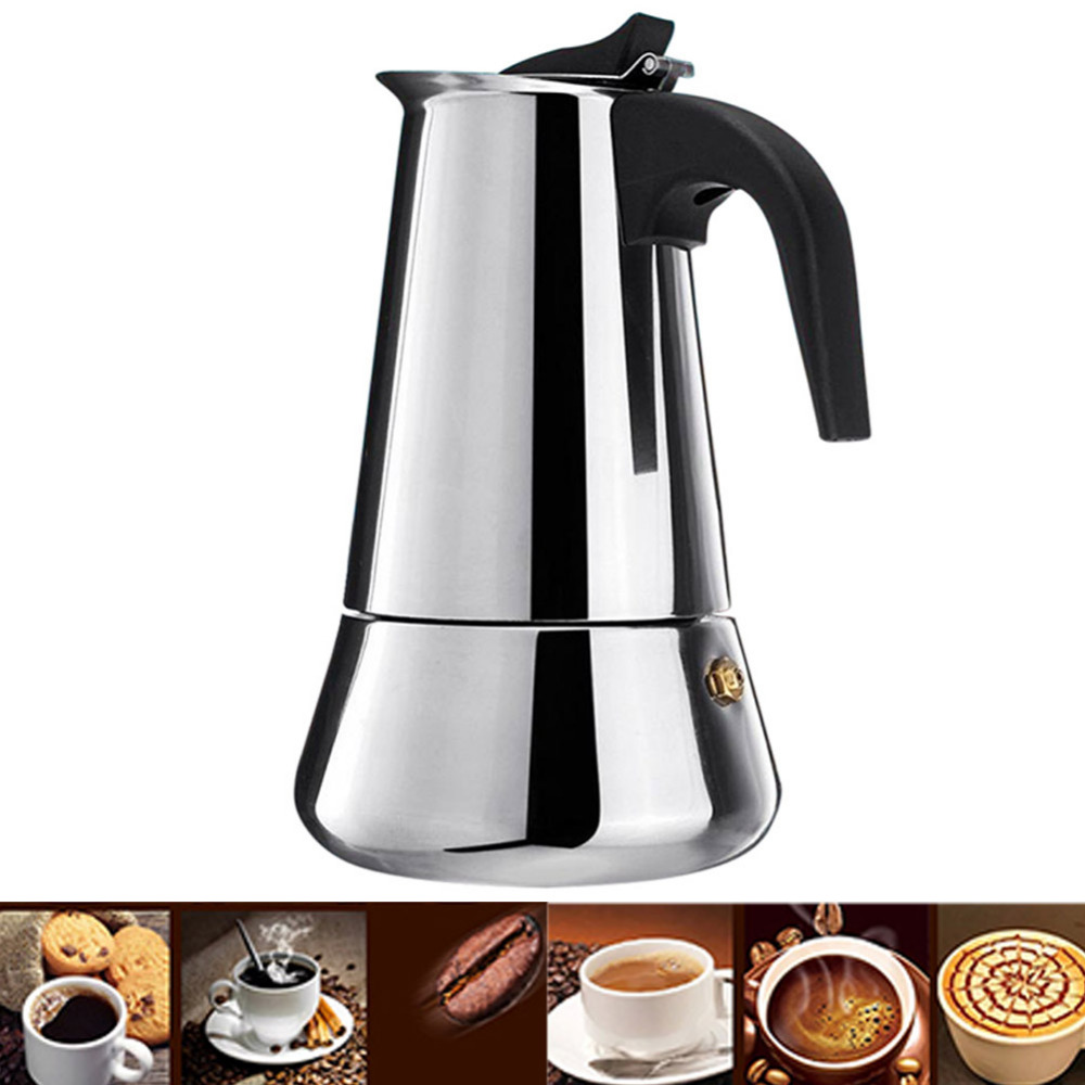 Stainless Steel Stovetop Coffee Maker Pot Mocha Moka Espresso Latte Coffee Pot Filter 100ML 200ML 300ML 400ML Coffee Machine (2)