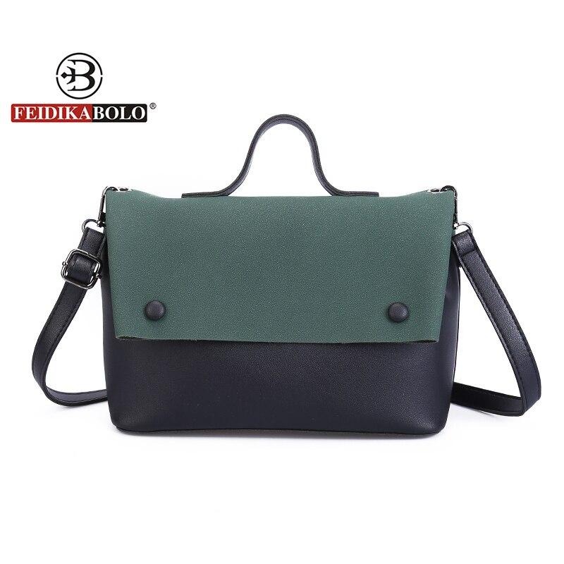 Feidikabolo бренд со вставками женские сумка Для женщин известный desiger высокое качество и пуговицы кожаная сумка через плечо сумка ...