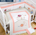 7Pcs Cotton Pink Girl Baby Bedding Set Cartoon Embroidery birds hedgehog Crib Bedding Set Detachable  Quilt Pillow Bumpers Sheet