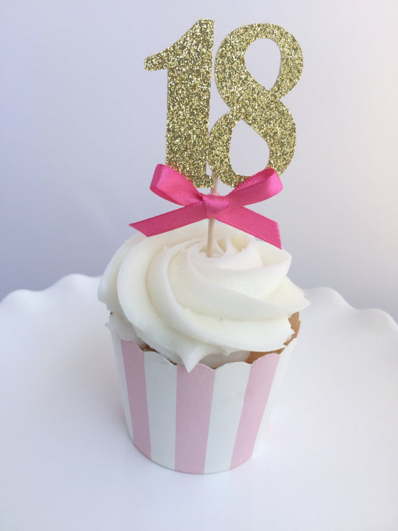 CUSTOM Number Glitter 18th Birthday Cupcake Toppers Baby Bridal Shower Anniversary Wedding Party Cake Decorations Food Picks In Decorating Supplies