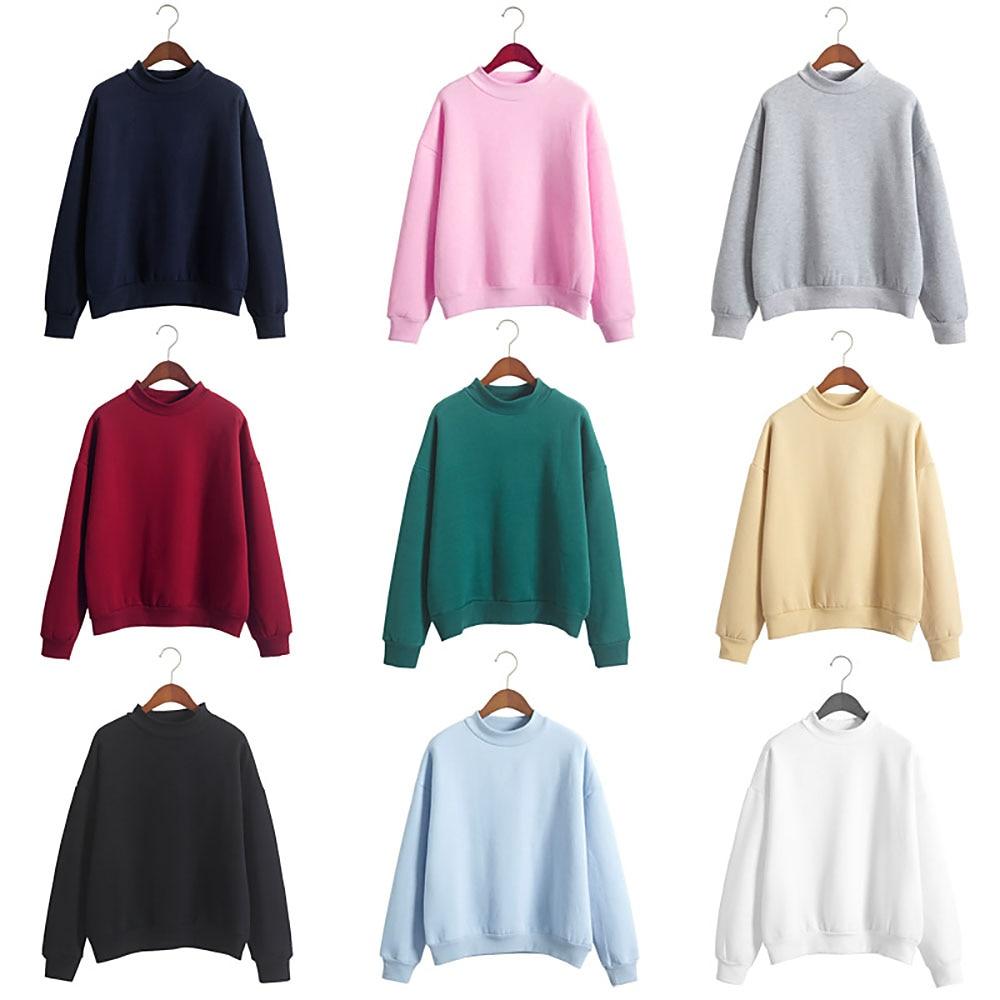 Autumn Winter Hoodies Warm Sweatshirt Women Plus Size Thicken Solid Color Pullover Fashion Casual Hoodies Moleton Coat