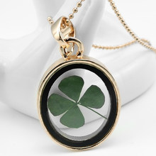 Clover Crystal Necklace Oval Glass Box Clover Pendant Creative Artworks Herbarium Glass Necklace(China)