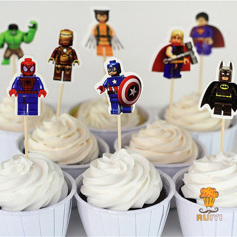 72pcs LEGO The Avengers Superman Batman Iron Man Cake Toppers Cupcake Picks Cases Kids Birthday Party