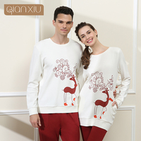 High Quality Couples Deer Printing Cotton Pajamas Sets Women White Color Long Sleeve Lovers Sleepwear Suits