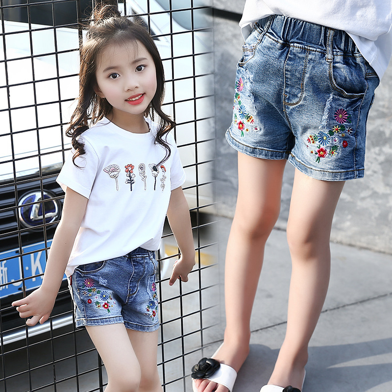 2018 Summer New Style Kids Girls Casual Hot Pants Girls Cute Embroidered Flower -6940