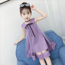 2018 Summer Girls Princess Dress Childrens Evening Clothing Kids Chiffon Bow Dresses Baby Girl Party Peter pan Collar