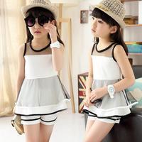 Boutique Kids Clothing Elegant Sleeveless Vest Chiffon Shorts For Girls Summer Kids Tracksuit Cool Conjunto Infantil Menina
