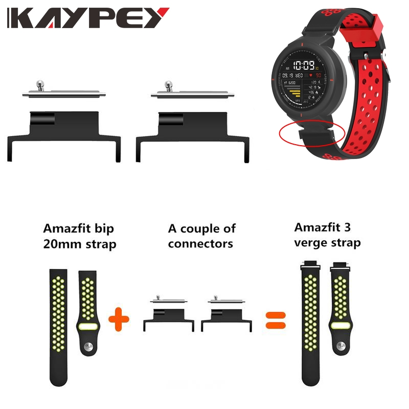 Smart Watch Strap Converter 4Pcs 20mm Wristwatch Strap Spring Bar Connector For Xiaomi Huami Amazfit 3 Verge Accessories