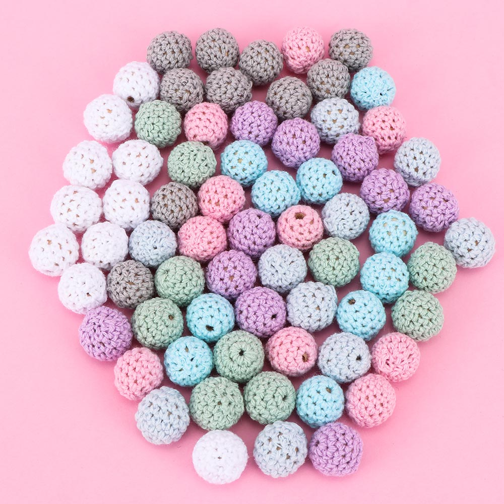 10pcs/lot Natural Wooden Crochet Beads Chewable Tooth Nursing Necklace Teething Beads Baby Teether Toys Baby Shower Gifts