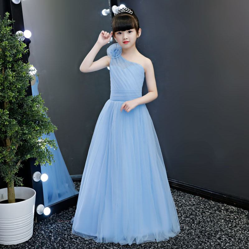 2019 Kids Girl One-shoulder Pleated Dress Teen Girl Wedding Birthday Party Vestido Children Mesh Princess Formal Prom Gown Q7242019 Kids Girl One-shoulder Pleated Dress Teen Girl Wedding Birthday Party Vestido Children Mesh Princess Formal Prom Gown Q724