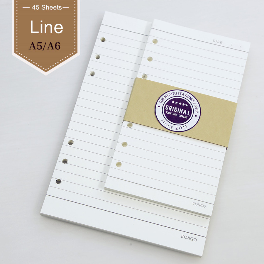 Standard 6 Holes A5 A6 Core Hand Loose Leaf Notebook Loose Inner Core Scheme Lined Pages Notebook Planner Diary Filler Papers