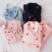 Women Winter Thicken Flannel Sleepwear 2PCS Pajamas Female Homewear Coral Fleece Pijama Mujer Long Sleeve Tops Pants Night Suit