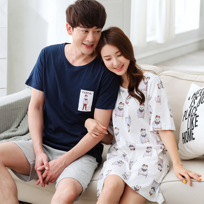 Newest Couple Cotton Pajamas Set Women Leisure Cartoon Nightdress Nightgown And Men\\'S Short Sleeve Pyjamas 2Piece Set For Summer