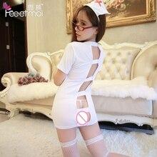 Sexy Lingerie Women Set White Stretch Knitting Nurse Costume Deep V-Neck Exposed Buttocks Lenceria Sexy Hot Mujer Sexy Uniform