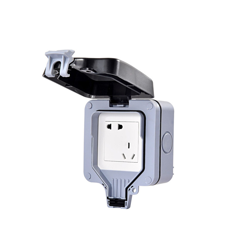 Купить с кэшбэком Outdoor wall socket IP 66 Dust proof power outlet and standard electrical appliance socket 2 holes and 3 holes