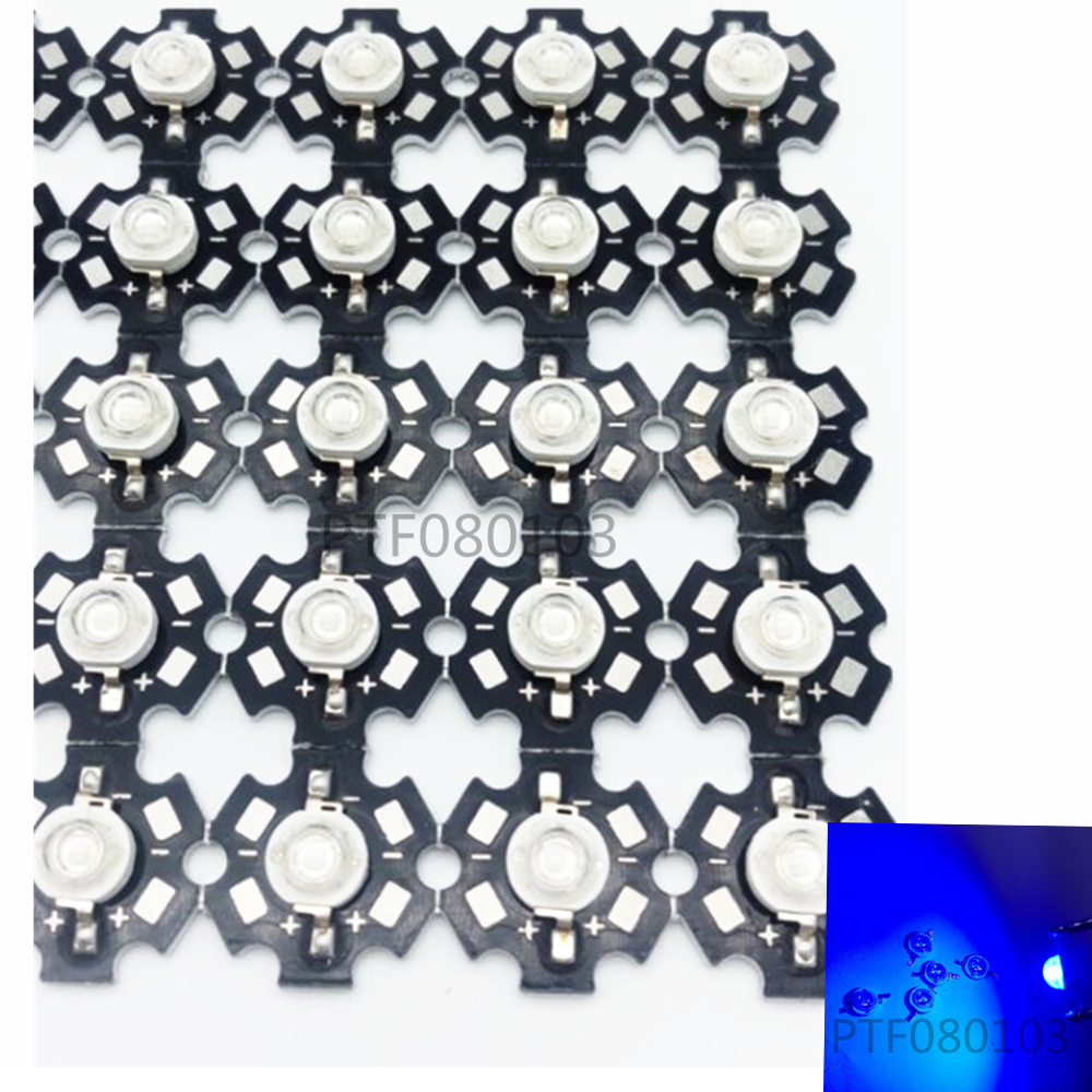 HOT Top Royal Blue 3W LED 445-455nm high Power 3W LED Chip Emitter With 20mm Star base 100pcs/lot for light tube