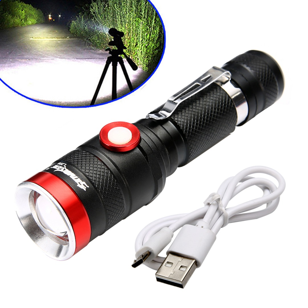 Mayitr High Quality 5000LM USB Charging L2 LED Torch Aluminum Zoomable Flashlight Portable for Outdoor Light