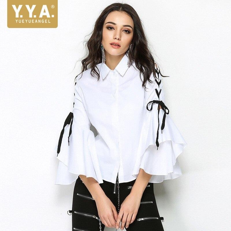 Chic automne Flare manches longues Split Top femmes 2019 nouveau col claudine Slim chemise blanc rue papillon manches Blouse femmes