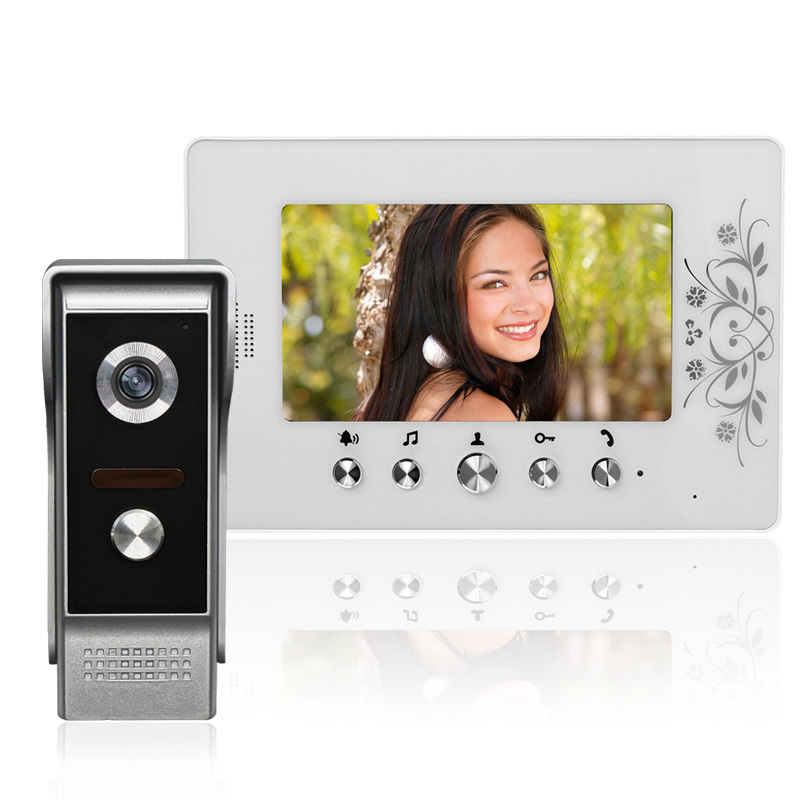 Wired Video Door Phone Doorbell Intercom System with 7 inch Color Monitor IR Night Vision Camera For Home Security homefong villa wired night visual color video door phone doorbell intercom system 4 inch tft lcd monitor 800tvl camera handfree