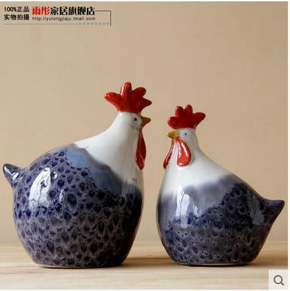 Handmade Large Ceramic Chicken Figurines Home Decor Ceramic Cock