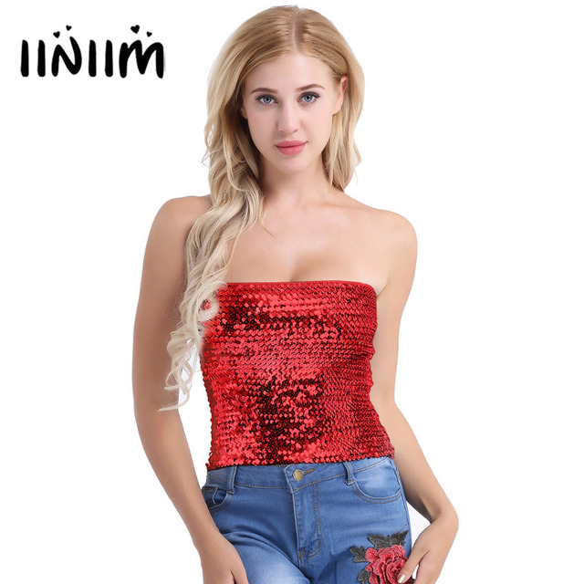 Fashion Womens Sparkling Sequins Stretch Tank Crop Top Party Clubwear  Halloween Costumes Night Party Strapless Tube Top 5 Color 4a0731e1a35c