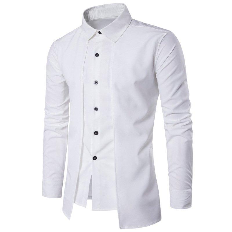 2019 Британский Стильный для мужчин's рубашки для мальчиков платье бизнес рубашки повседневное Вечеринка мужчин Топы с длинным рукаво