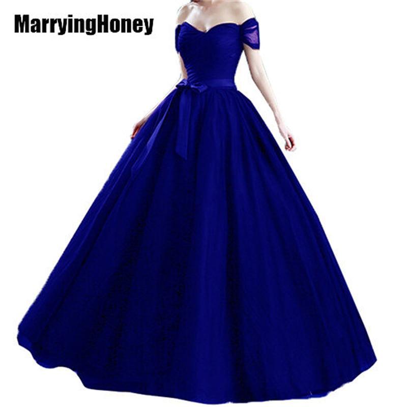 Tie Tillbaka Off Shoulder Tulle Aftonklänningar Plus Storlek Brudprinsessan Ballkjole Quinceanera Prom Women Formal Vestidos de Festa