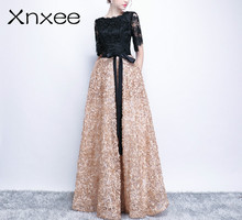 Xnxee Contrast Color Half Sleeves Bow Floral Print Elegant Lace Zipper Party Frocks Dress Floor Length Dress Xnxee black random floral print half flared sleeves mini dress