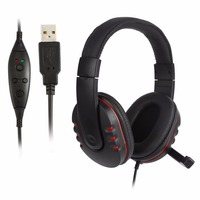 Leather USB Wired Stereo Micphone Headphone Mic Headset For Sony For PS3 PC Game Worldwide Store